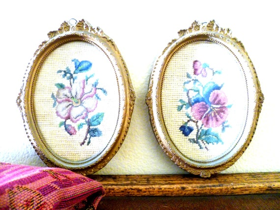 VINTAGE Gold Carved Frames with Needlepoint Flower Picture Emroidered Set of Two