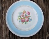 Vintage Homer Laughlin Eggshell Georgian China, Cottage Chic Chateau Dinner Plate, , Aqua, Light Blue, Turquoise, Wedding, Flowers