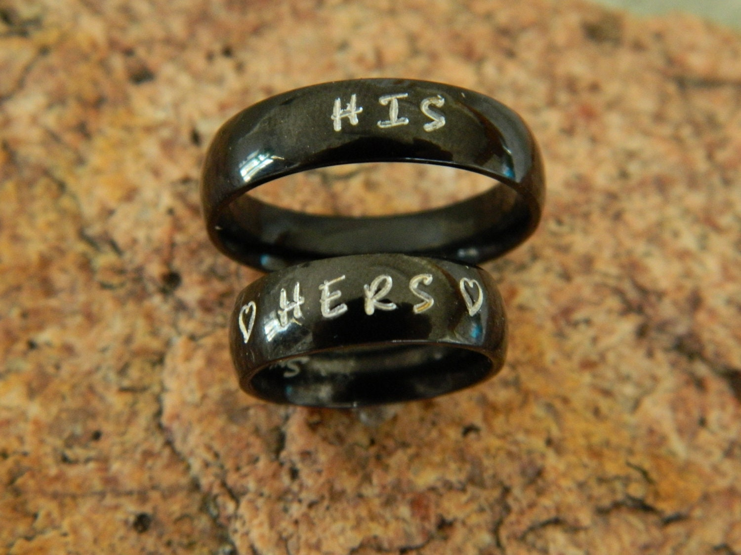 Couples Matching Hand Stamped Name Ring Set by ...