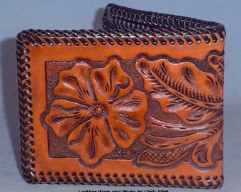 Beautiful Classic Floral Carved Mens Wallet - L032