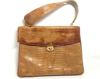 Vintage Caramel Lizard Grace Kelly Handbag Mad Men 60's