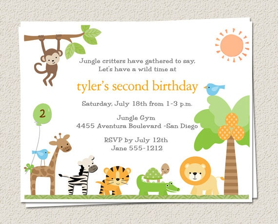 10 Birthday Party Invitations Jungle Zoo Safari King Of