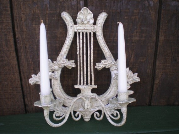 Clearance Sale Metal double wall sconce Harp Lyre by PJsParadise