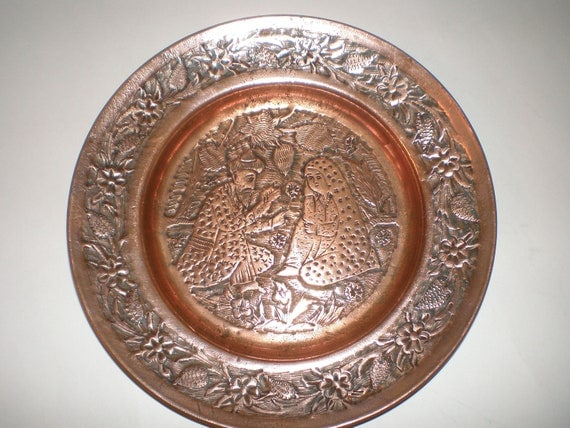 Vintage Copper Wall Plate Decorative Hanging Hand By