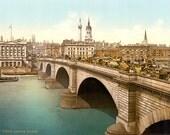 London Bridge, London, England (c1895) - Vintage Photo - Archival Reproduction