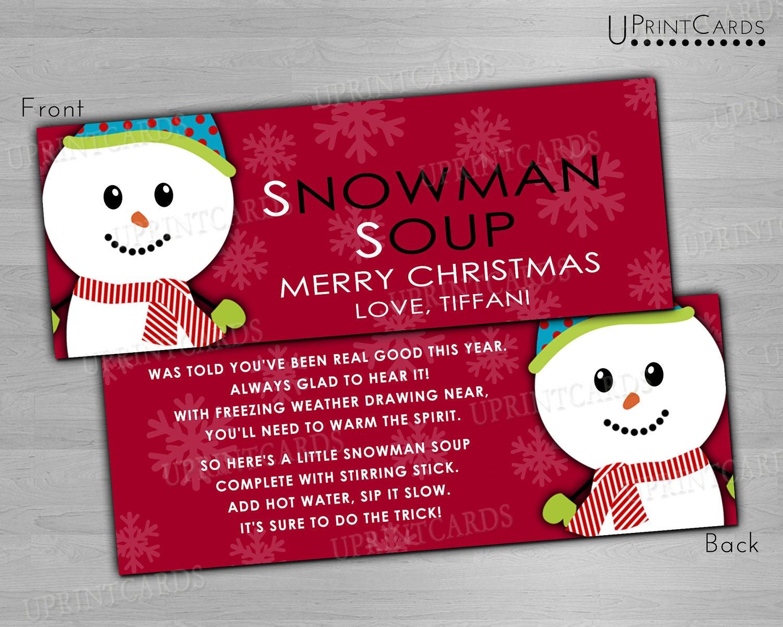 DIY Printable Treat Bag Toppers - Snowman Soup - Holiday Christmas ...