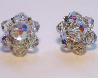 1950s Clear Aurora Borealis Clip On Earrings FREE SHIPPING