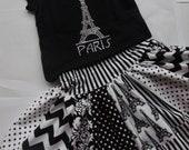 Girls Paris Eiffel Tower Chevron Skirt Set Paris Twirly Skirt Paris Rhinestone Shirt Girls Applique Paris Top Black Chevron Skirt