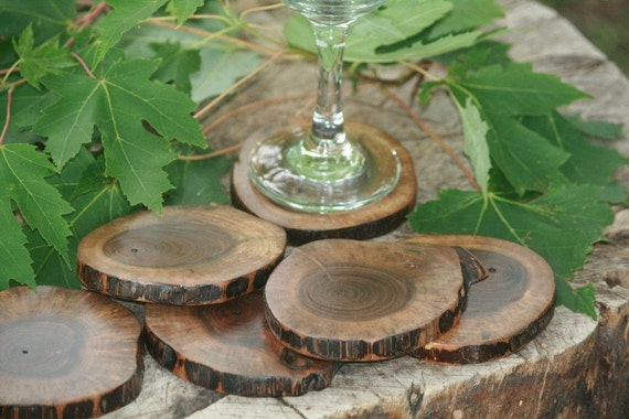 Rustic Wood Coasters-Stunning set of 4 Round Walnut Coasters-Michigan Reclaimed Coasters Perfect for Housewarming Gift From TheHeritageTree