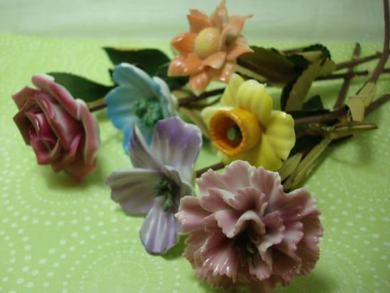 Vintage Long Stem Porcelain Flower Set And Glass Vase Vintage