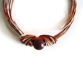 Knot Necklace,Cord Fiber Necklace, Statement OOAK Necklace, Brown Orange Beige, Fall Accessory, Earth Colours Necklace