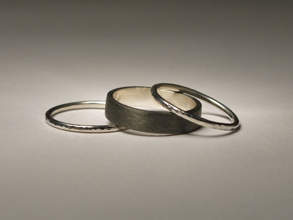 Sterling silver rings set of 3 ,brushed silver ,oxidized silver and hammered silver.