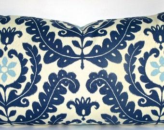 Decorative Indoor Outdoor Pillow Cover, Blue and White Suzani, Lumbar Throw Pillow