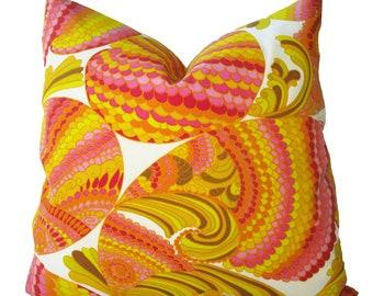 Decorative Designer Trina Turk Pisces Indoor Outdoor Pillow Cover, Schumacher, 18x18, 20x20, 22x22, Orange, Yellow, Pink, Throw Pillow