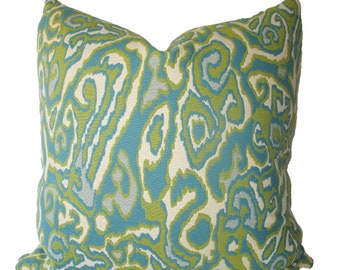 Decorative Designer Reversible Ikat Abstract, 18x18, 20x20, 22x22 or Lumbar Pillow Cover, Aqua, Turquoise, Chartreuse, Throw Pillow