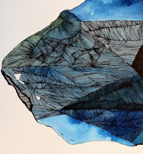 Original Iceberg Drawing - Fractured Ice