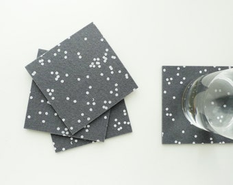 Grey Confetti Felt Coasters - Set of four - White Confetti Pattern on Charcoal Grey Felt