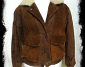 FREE SHIPPING Brown Leather Vintage 80's Bomber Jacket/Aviator Jacket/Distressed Leather/Suede Leather Jacket/Faux Shearling Collar