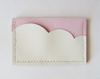 Business Card Holder - Leather Card Case with Pastel Pink Sky and White Cloud - Handmade and Hand Stitched - Free Monogram