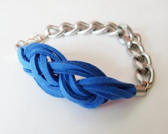 Sailor Knot Chain Bracelet - Royal Blue Suede Sailor Knot Bracelet with Silver Color Aluminum Chain - Rock and Cool
