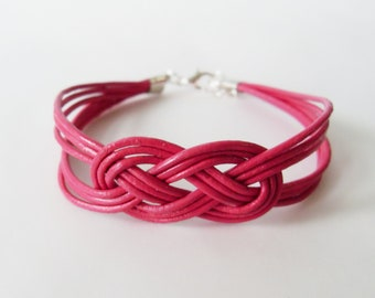 Leather Sailor Knot Bracelet - Magenta Leather Strap Bracelet with Sailor Knot - Simple and Stylish