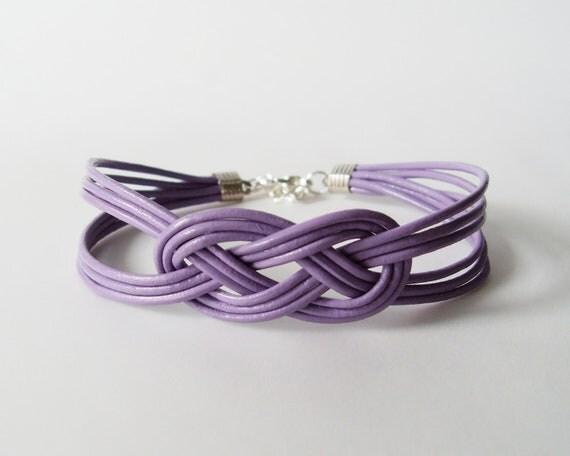 Leather Sailor Knot Bracelet - Light Purple Leather Strap Bracelet with Sailor Knot - Bridesmaids Gift Idea