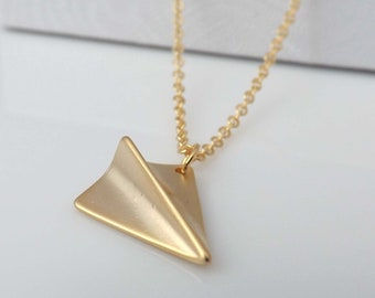 Gold Paper Airplane Pendant Necklace - One Direction necklace ,Mother's Day gifts