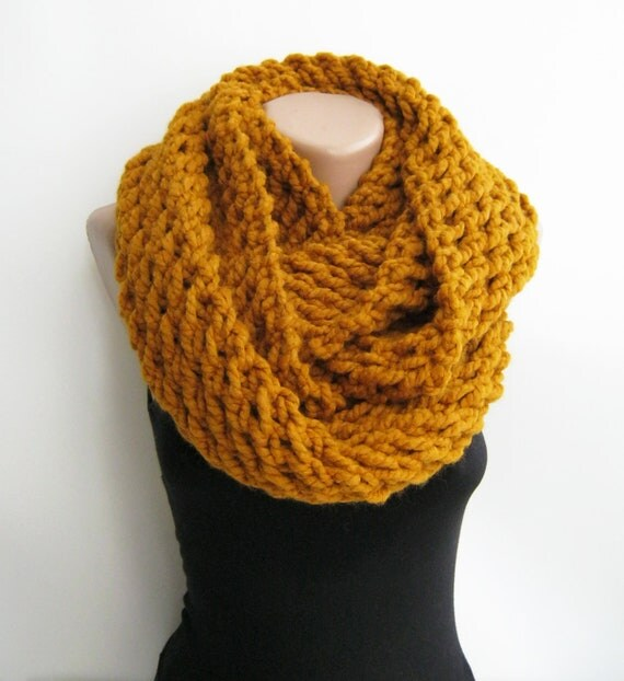 Mustard chunky infinity scarf,knitted loop scarf