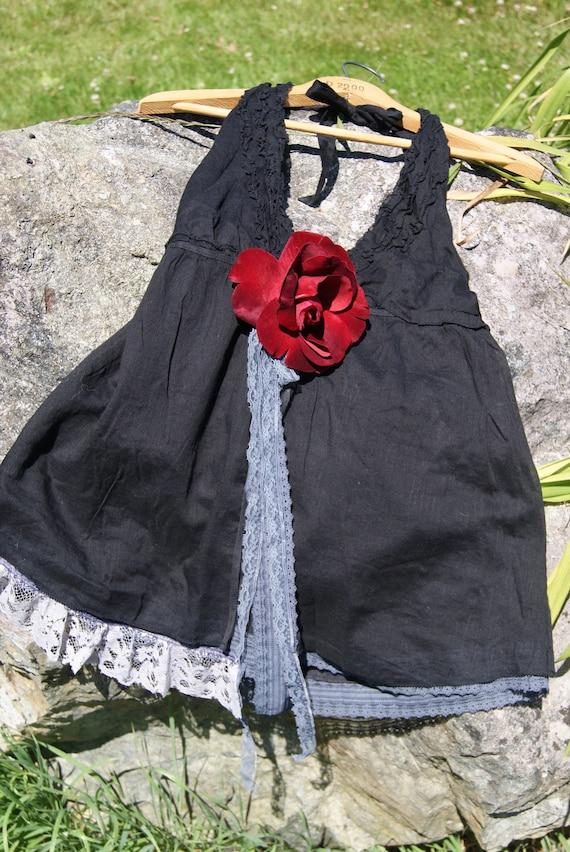 Summer altered couture halter top, summer hippie chic, beachgirl, boho, steampunk, retro halter