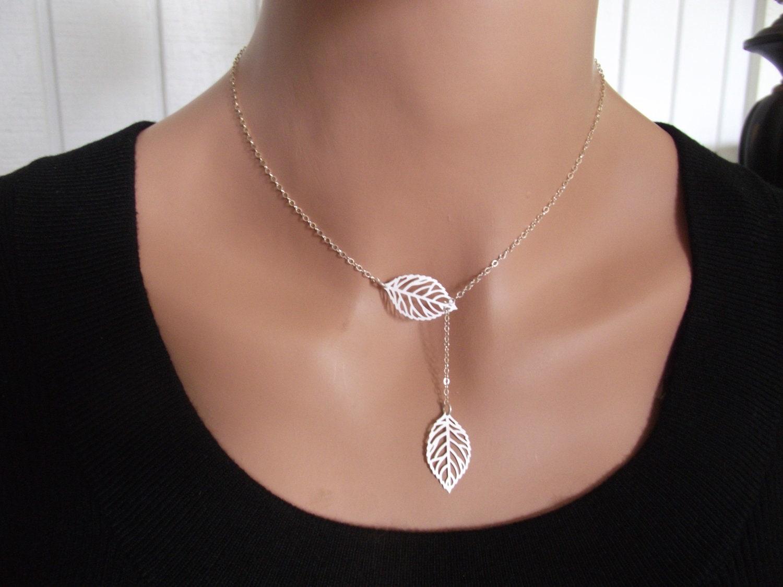 Lariat Leaf Necklace, Leaves Necklace, Leaf Charm, Leaf Pendant ...