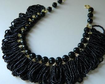 Black onyx necklace Black Necklace statement necklace Bib necklace chunky Necklace Beaded Victorian Necklace Stone necklace fringe necklace