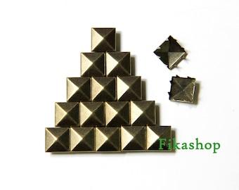 10mm 50pcs Brass pyramid studs ( 8 legs ) / HIGH Quality - Fikashop