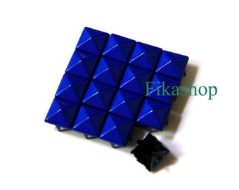 10% Off Clearance SALE: 7mm 100pcs Blue polished pyramid studs (4 legs) / HIGH Quality - Fikashop