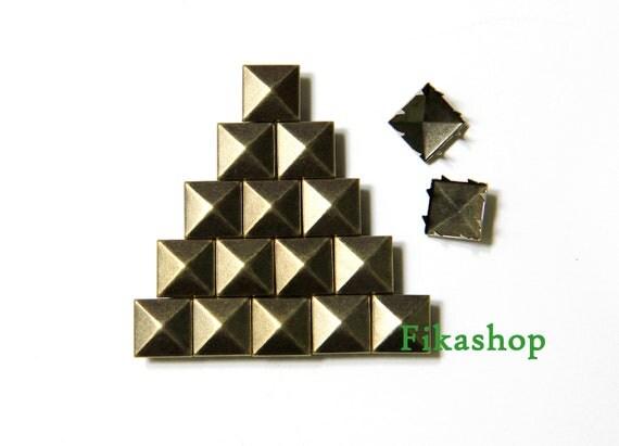 9mm 100pcs Brass pyramid studs ( 8 legs ) / HIGH Quality - Fikashop