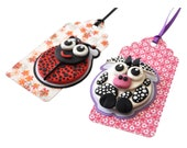 Gift Tag Ladybug Cow for baby shower birthday or any occasion Polymer clay animal dots series
