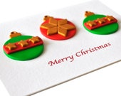 Christmas greeting card ball ornaments Polymer clay Xmas decoration