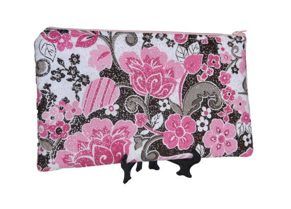 Pouch clutch in pink and brown floral print with silver glitter Zipper closure