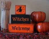 Witches Welcome Stacking Decorative Primitive Blocks