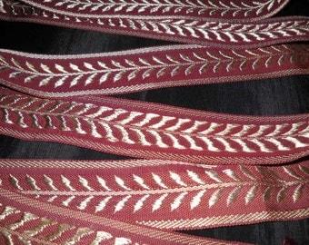 Jacquard Ribbon Trim Metallic Woven Burgundy Ribbons Garland Leaf Greek Senechal