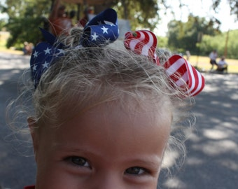 July 4th Hair Bow.....Patriotic Hairbow....Flag Red White and Blue Pony Boutique Hair Bows