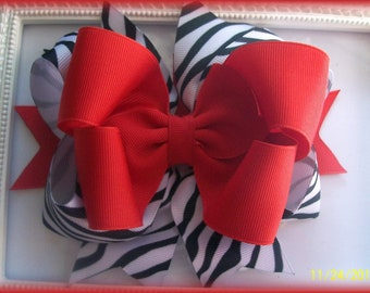 Zebra and Red Hair Bow....Girls Hair Bow...Toddler Hair Bow.
