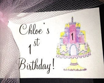 Princess GIRL's BIRTHDAY favor TAGS - 1st Birthday - 2nd, 3rd, 4th, 5th - with castle embellishment customized, personalized, cute