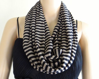 Tan And Black Stripe Circle Scarf. Stripe Infinity Scarf. Soft Cotton Spandex Loop Scarf.