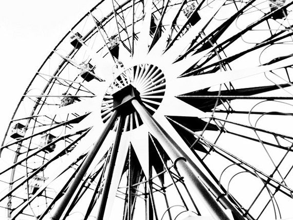 Ferris Wheel Photography Black And White Ferris Wheel Photograph Black