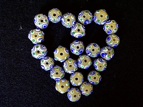 24 Vintage Lampworked Venetian Art Glass Beads, 10mm approx, Nice