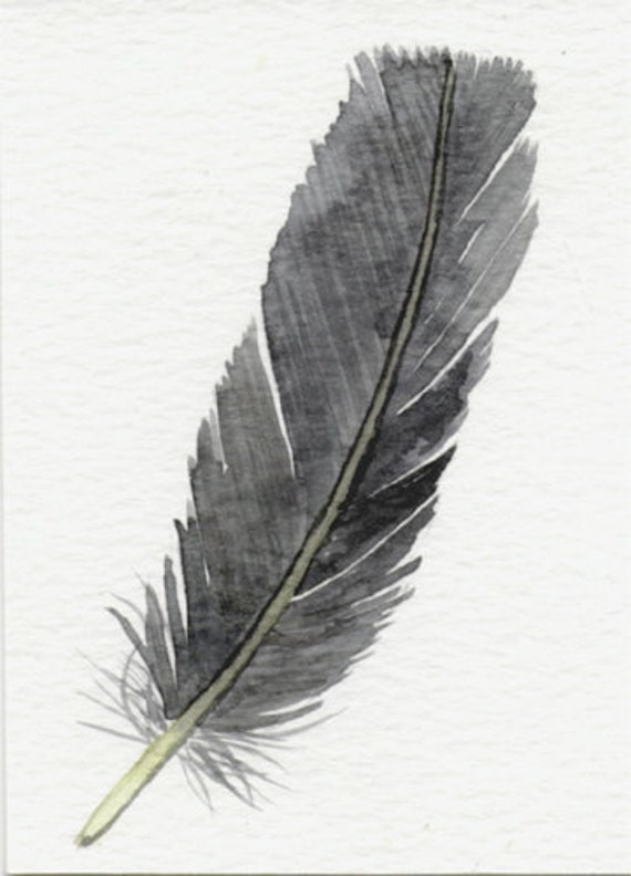 Feather art  - original watercolor painting ACEO