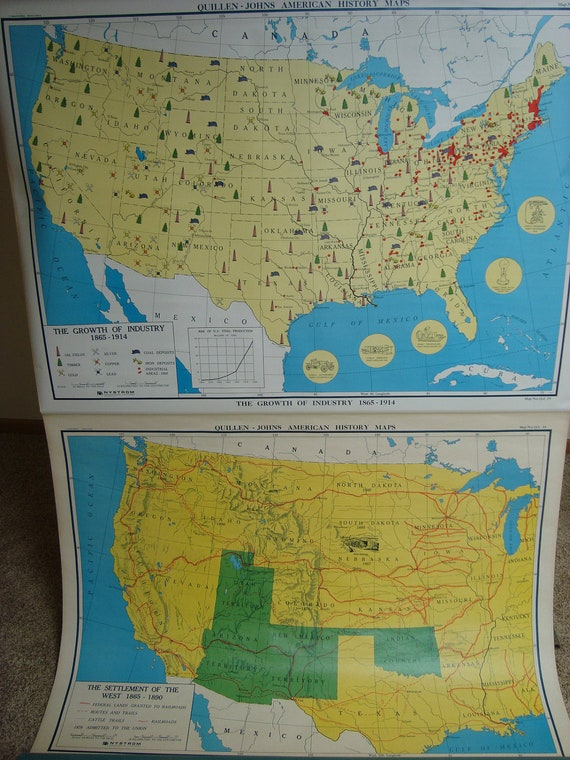 """Vintage 55"""" Nystrom US Pull Down School Map --- Settlement of the West & Growth of Industry"""
