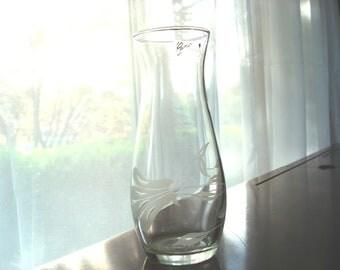 Vintage Vase Cameo Hand Etched Cut Crystal Vase