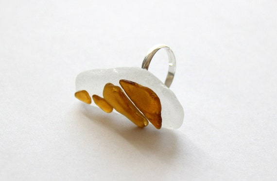 Huge Stacked Seaglass Ring - White & Brown - Beachy