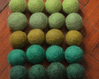 20pcs Green Collection III Wool Felt Balls (1cm or 1.5cm)